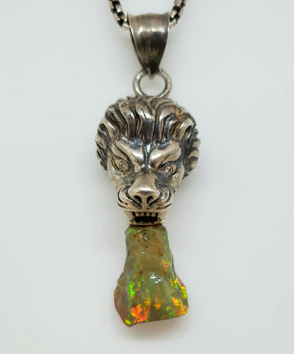 Lion Opal Pendant Sterling Silver Necklace #118