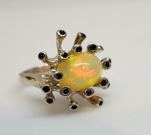 Opal & Sapphire Sterling Silver Ring #114