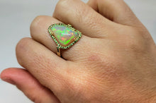 Load image into Gallery viewer, Opal & Tsavorite Garnet Ring 14k Gold #117