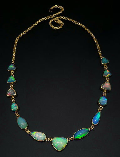 Ethiopian Opal Gemstone Necklace 14k Gold #126