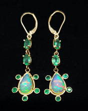 Load image into Gallery viewer, Opal Emerald Gold Earrings