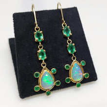 Load image into Gallery viewer, Opal & Emerald Earrings 14k Gold #120
