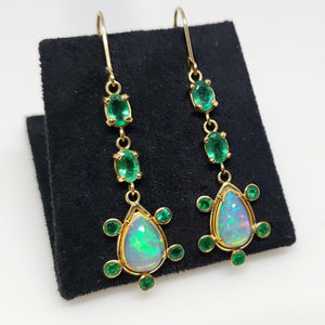 Opal & Emerald Earrings 14k Gold #120