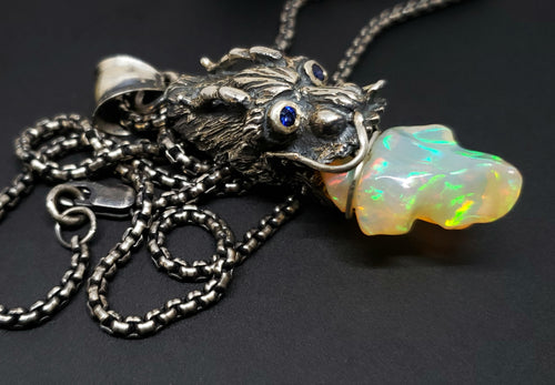 Dragon Opal Pendant Sterling Silver Necklace #121