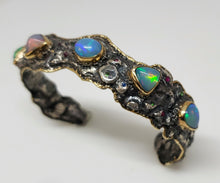 Load image into Gallery viewer, Silver & Gold Opal Gemstone Cuff Bracelet #123