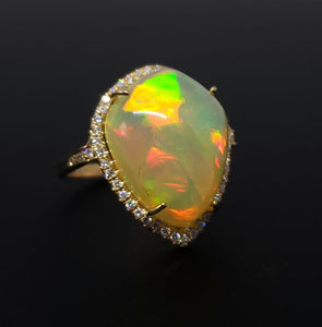 Opal & Diamond Ring 14k Gold #127