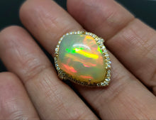 Load image into Gallery viewer, Opal & Diamond Ring 14k Gold #127