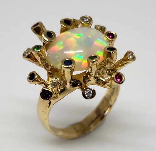 Opal Gemstones Ring 14k Gold #125