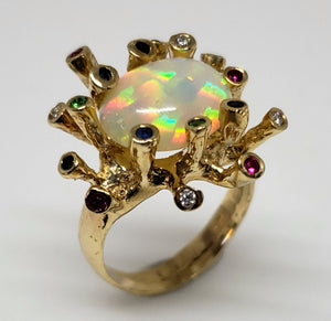Opal Gemstones Gold Ring