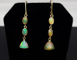Opal Gold Dangle Earrings