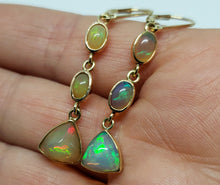 Load image into Gallery viewer, Ethiopian Opal Earrings 14k Gold #128
