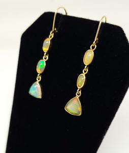 Ethiopian Opal Earrings 14k Gold #128