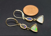 Load image into Gallery viewer, Ethiopian Opal Earrings 14k Gold #129