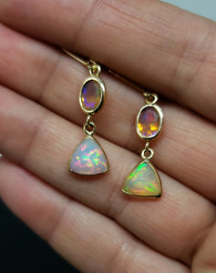Ethiopian Opal Earrings 14k Gold #129