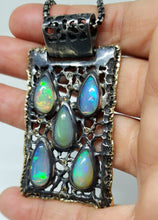 Load image into Gallery viewer, Opal Silver & Gold Pendant Necklace #130