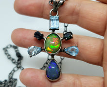 Load image into Gallery viewer, Opal & Aquamarine Silver Pendant Necklace #131