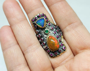 Opal & Ruby Ring Silver & 14k Gold #132