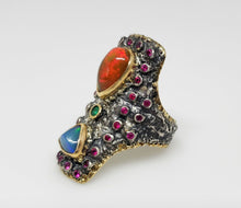 Load image into Gallery viewer, Opal & Ruby Ring Silver & 14k Gold #132