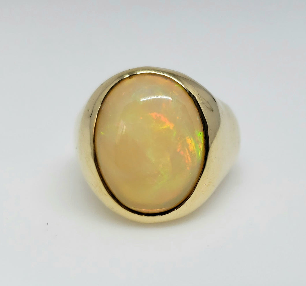Mens Gold Opal Ring