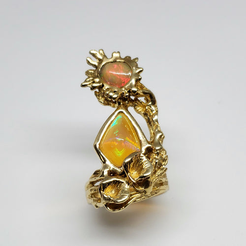 Opal Ring 14 Karat Gold  Statement Jewelry #134