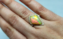 Load image into Gallery viewer, Bright  Colorful Opal & Diamond Ring 14k Gold #136
