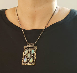 Opal Silver & Gold Pendant Necklace #130