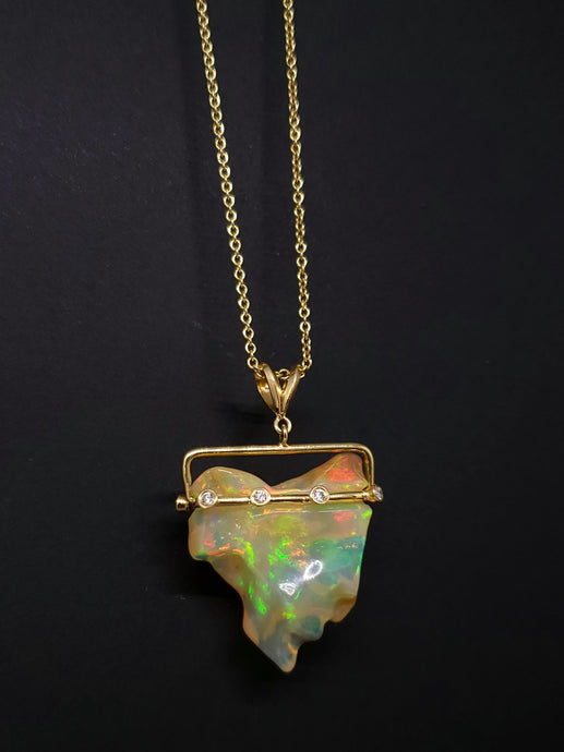 Carved Opal Diamond Gold Pendant