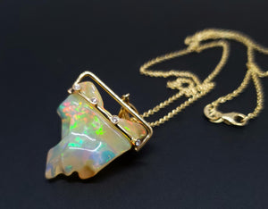 Carved Opal & Diamond Pendant #140