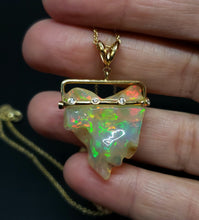 Load image into Gallery viewer, Carved Opal & Diamond Pendant #140