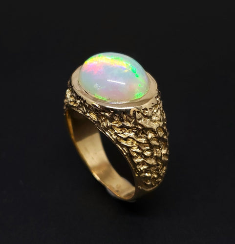 Men's Opal Ring 14 Karat Gold  #141