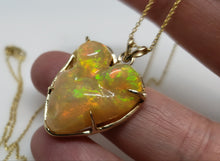 Load image into Gallery viewer, Carved Opal Heart 14k Gold Pendant #144