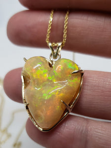 Carved Opal Heart 14k Gold Pendant #144