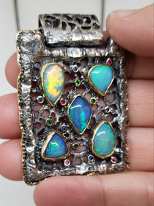 Opal Silver & Gold Pendant Necklace #142