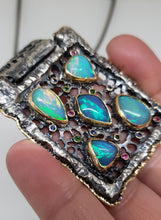 Load image into Gallery viewer, Opal Silver & Gold Pendant Necklace #142