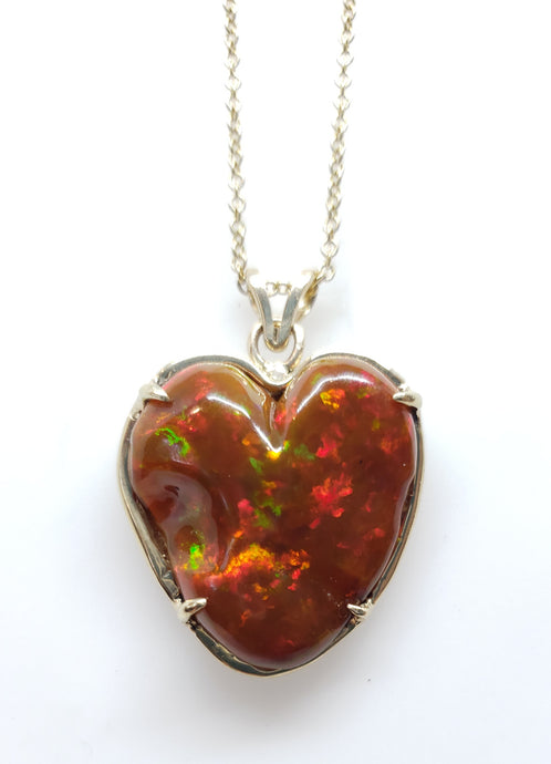 Carved Opal Heart 14k Gold Pendant #143