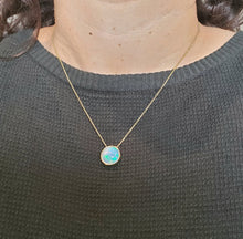 Load image into Gallery viewer, Natural muti-color Opal Pendant 14k Yellow Gold Chain Necklace #147