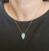 Load image into Gallery viewer, Natural muti-color Opal Pendant 14k Yellow Gold Chain Necklace #148