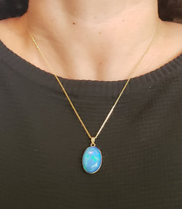 Blue Opal Pendant 14k Yellow Gold Chain Necklace #150