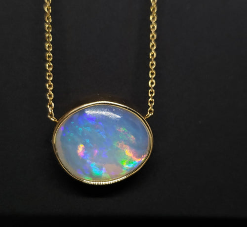 Natural muti-color Opal Pendant 14k Yellow Gold Chain Necklace #146