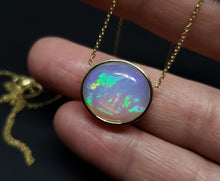Load image into Gallery viewer, Natural muti-color Opal Pendant 14k Yellow Gold Chain Necklace #146