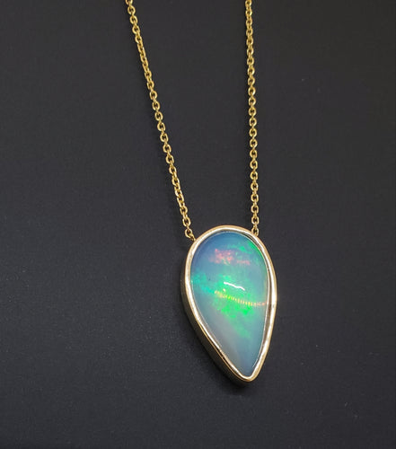 Natural muti-color Opal Pendant 14k Yellow Gold Chain Necklace #148