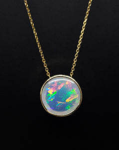 Natural muti-color Opal Pendant 14k Yellow Gold Chain Necklace #147