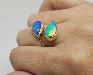 Blue Two Opal Adjustable Ring 14 Karat Gold #151
