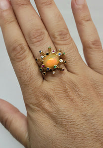 Opal  & Color Gemstones 14k Gold Ring #161