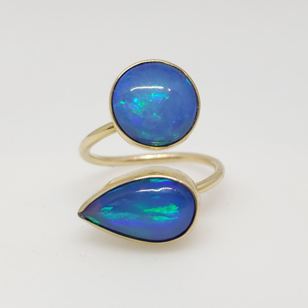 Blue Opal Ring 14k Gold Adjustable band