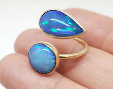 Load image into Gallery viewer, Blue Opal Ring 14k Gold Adjustable band