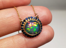 Load image into Gallery viewer, Blue Opal & Sapphire Pendant 14k Gold Necklace #165