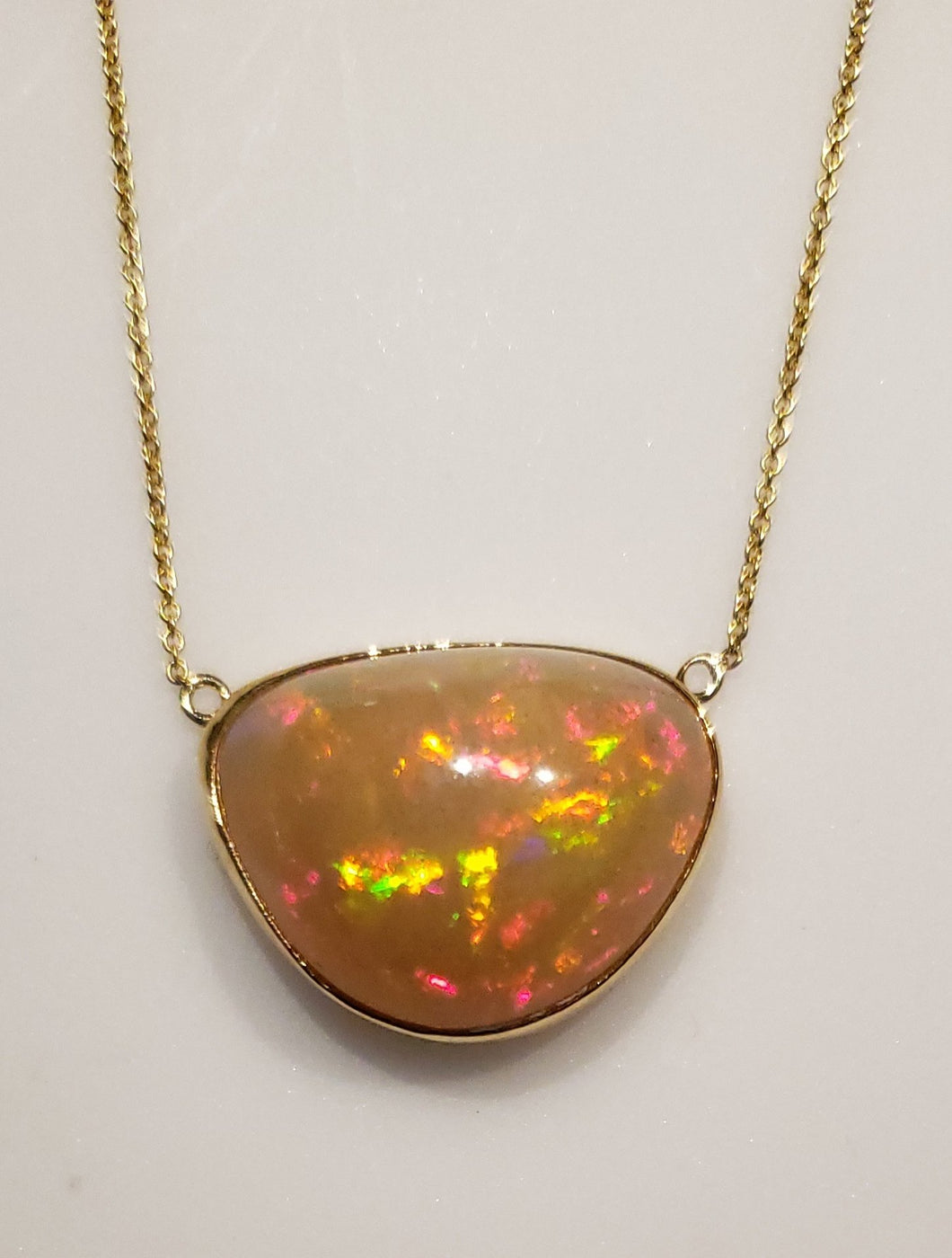 Orange Opal Pendant 14k Yellow Gold Chain Necklace #164