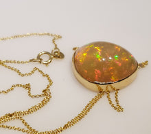 Load image into Gallery viewer, Orange Opal Pendant 14k Yellow Gold Chain Necklace #164