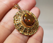 Load image into Gallery viewer, Brown Opal & Green Tsavorite Pendant 14k Gold #163